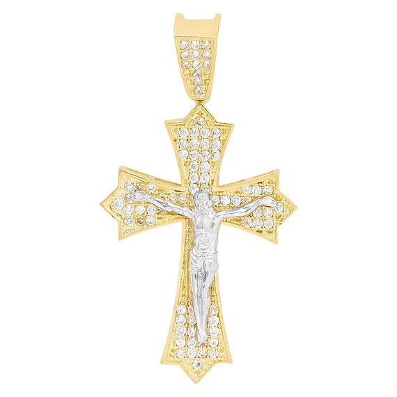 "1.75"" CZ Cross Jesus Crucifix Pendant Real Solid 10K Yellow Gold - bayamjewelry"