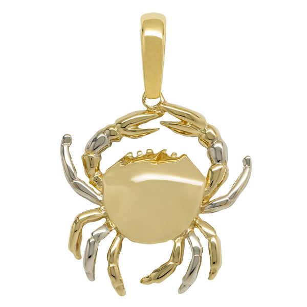 "1 1/2"" Crabs Scorpion Two-Tone Pendant Real Solid 10K Yellow Gold - bayamjewelry"