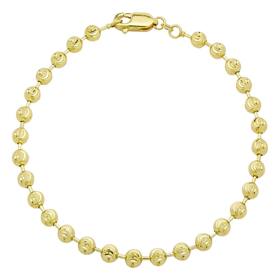 Men's Moon Cut Bead Ball Dog Tag Bracelet Real 10K Yellow Gold - Solid - bayamjewelry