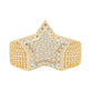 Super Star CZ Ring Real Solid 10K Yellow Gold - bayamjewelry