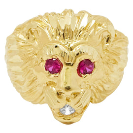 Men's Big Lion Head Ring Ruby Eyes & CZ Real Solid 10K Yellow Gold Size 11 - bayamjewelry