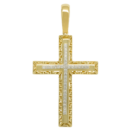 "2.5"" Cross CZ Greek Style Pendant Real Solid 10K Yellow Gold - bayamjewelry"