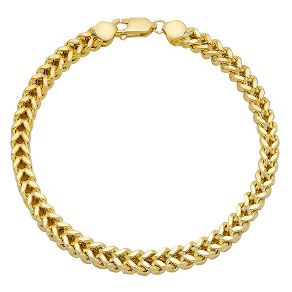 Men's Franco Bracelet Real 10K Yellow Gold - Hollow - bayamjewelry