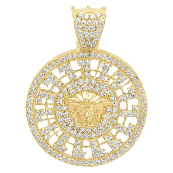"1 1/2"" Medusa CZ Medallion Greek Design Charm Pendant Real 10K Yellow Gold - bayamjewelry"
