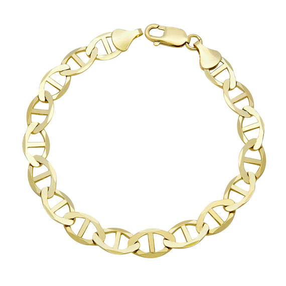 Men's Mariner Link Bracelet Real 10K Yellow Gold - Solid - bayamjewelry