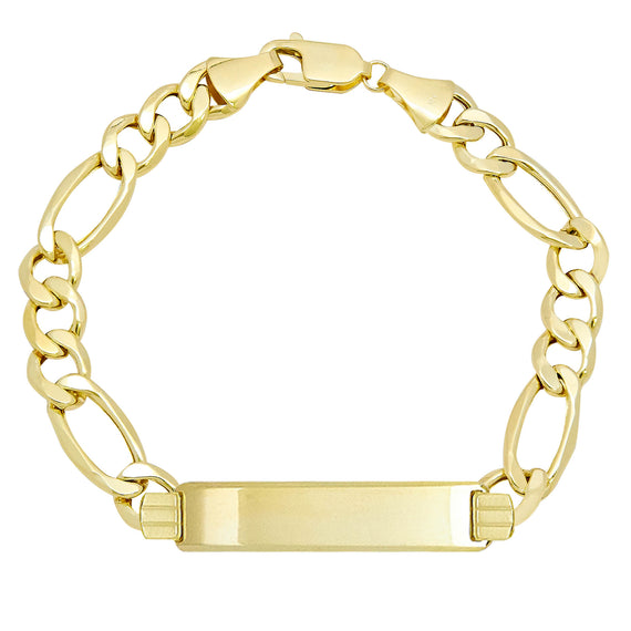 Men's Figaro ID Bracelet Real 10K Yellow Gold - Hollow - bayamjewelry