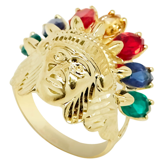 Men's Indian Chief Head Rainbow CZ Ring Real Solid 10K Yellow Gold Size 7 - bayamjewelry
