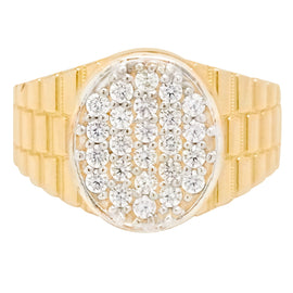 Men's Unisex Railroad Style Oval CZ Pinky Ring Real Solid 10K Yellow Gold - bayamjewelry