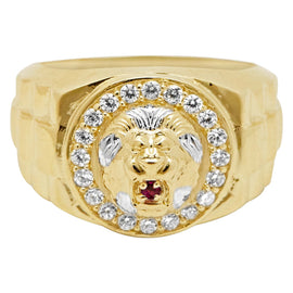 Lion Head Railroad CZ with Ruby Eyes Ring Real Solid 10K Yellow Gold Size 11 - bayamjewelry