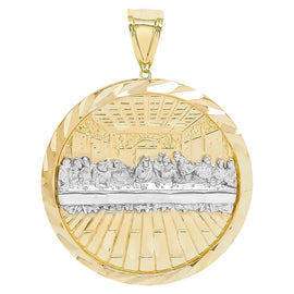 "1 1/2"" Last Supper Medallion Diamond Cut Pendant Real Solid 10K Yellow Gold - bayamjewelry"