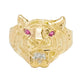 Men's Tiger Head Ring Ruby Eyes & CZ Real Solid 10K Yellow Gold Size 10.5 - bayamjewelry
