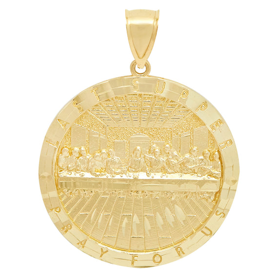"2"" Last Supper Diamond Cut Medallion Charm Pendant Real 10K Yellow Gold - bayamjewelry"