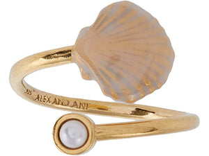 Alex and Ani White Scallop Shell Wrap Ring