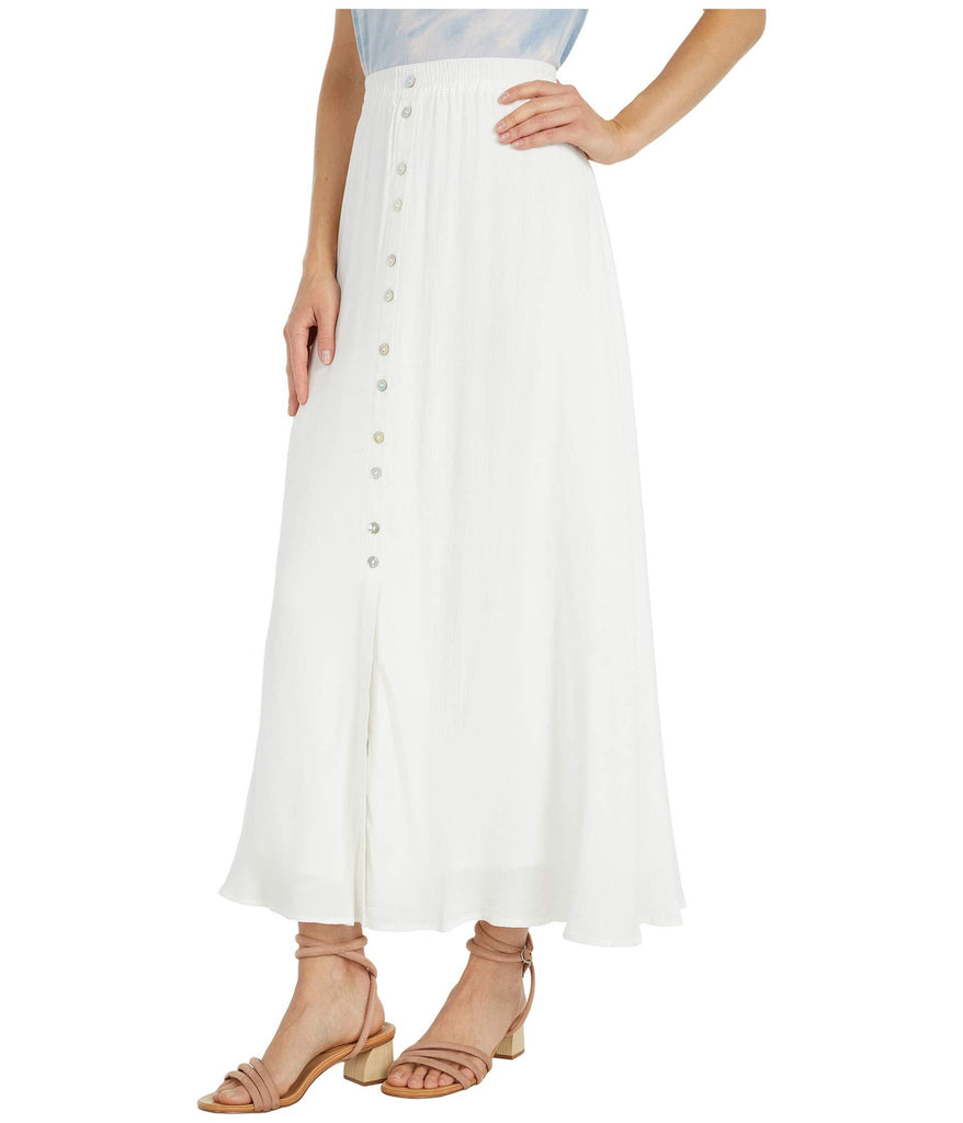 Lula - Viscose Slub Natural Waist Button-Down Maxi Skirt with Elastic Waist
