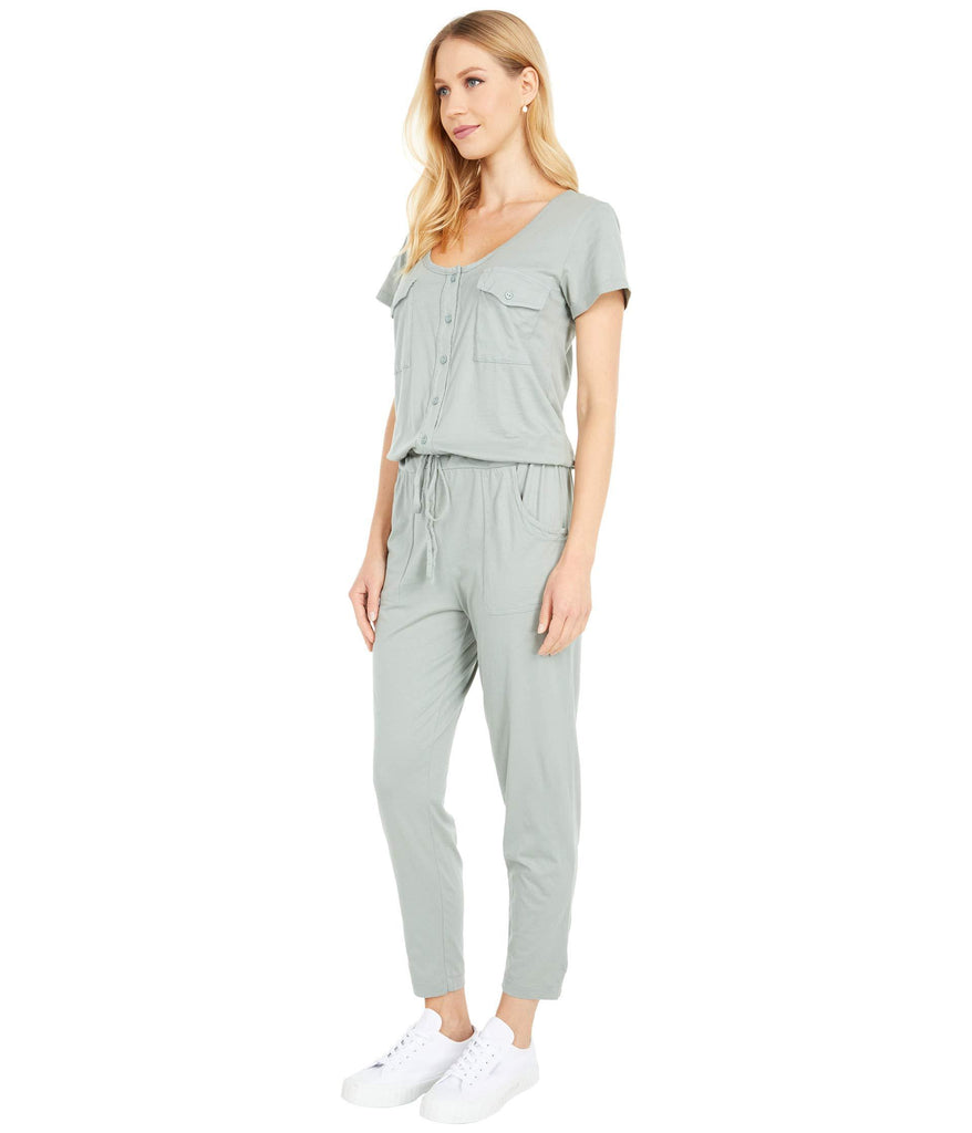 Short Sleeve Henley Jumpsuit in Supreme Jersey