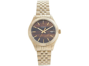Timex 34 mm Waterbury 3H Gold SST Case Brown Dial Gold-Tone Bracelet