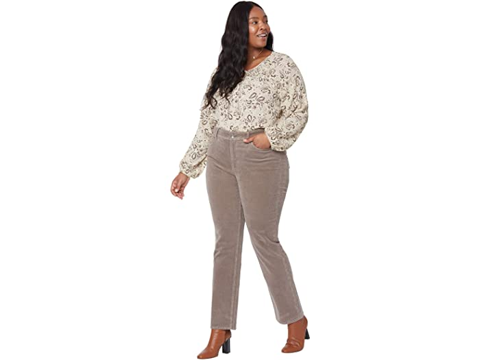 NYDJ Plus Size Plus Size Marilyn Straight Jeans with Double Snap Waistband in Deep Taupe
