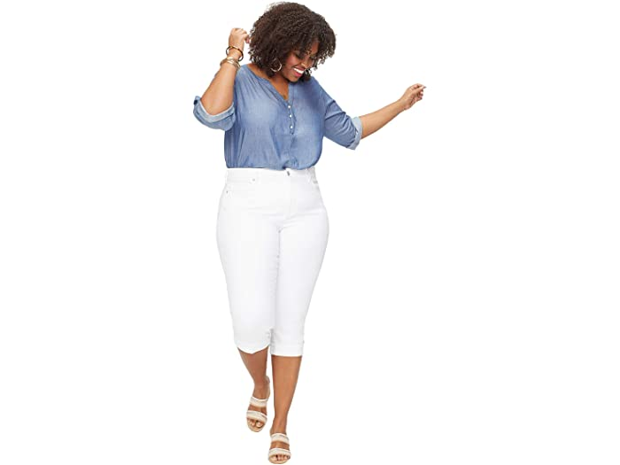 NYDJ Plus Size Plus Size Marilyn Crop Cuff in Cool Embrace Denim in Optic White