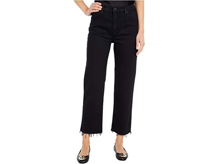 Hudson Jeans Remi High-Rise Straight Cropped in Worn Black