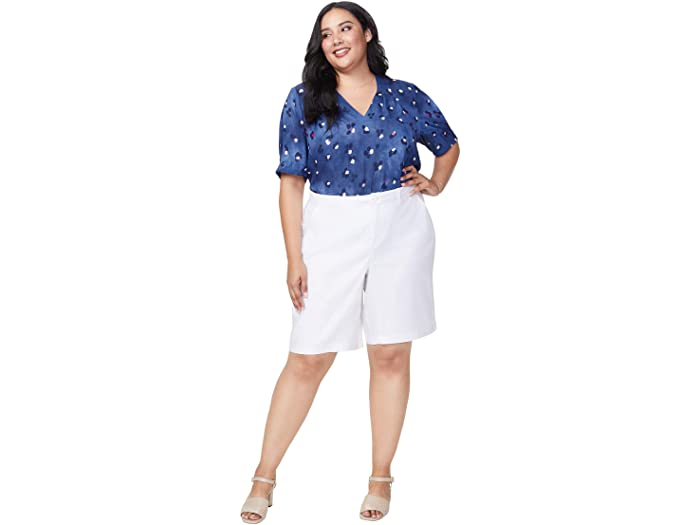 NYDJ Plus Size Plus Size Bermuda Shorts in Stretch Linen in Optic White