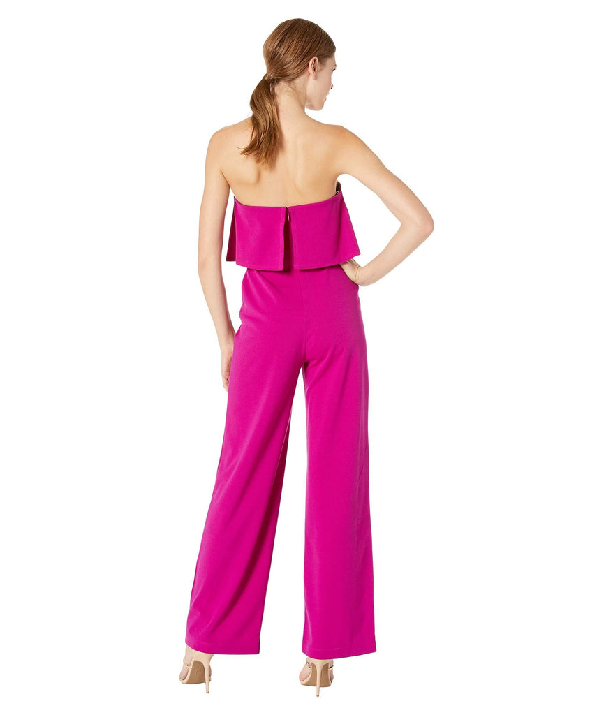 Scuba Crepe Strapless Jumpsuit with V Notch