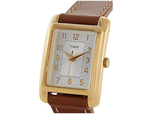 Timex 25mm Addison Gold Case Silver Dial Tan Double Wrap Leather Strap