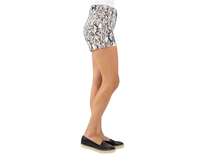KUT from the Kloth Gidget High-Rise Shorts with Raw Hem in Ivory/Black/Tan