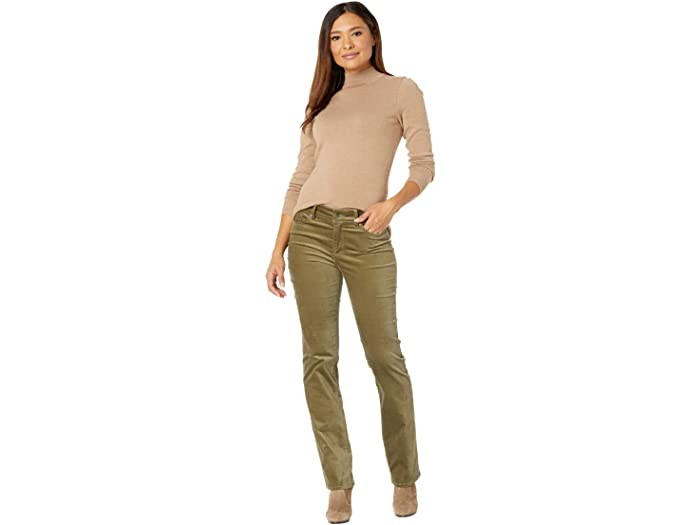 NYDJ Marilyn Straight Velvet Jeans in Martini Olive