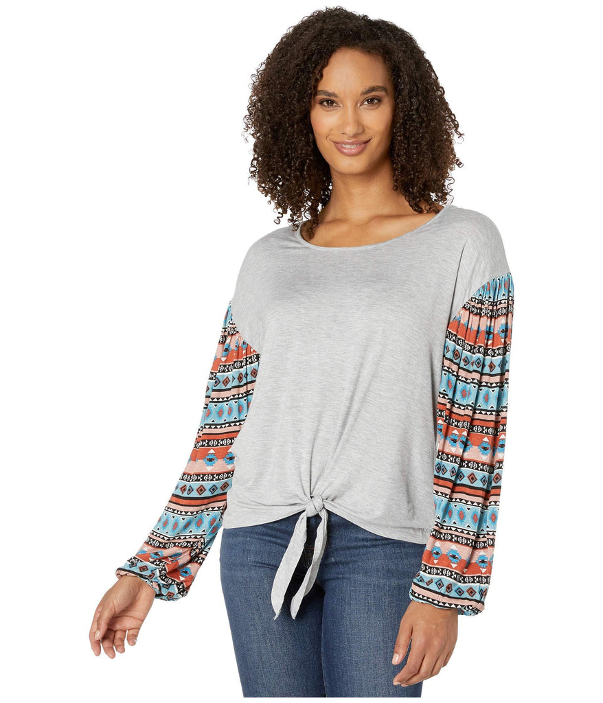 Western Knit with Printed Sleeves