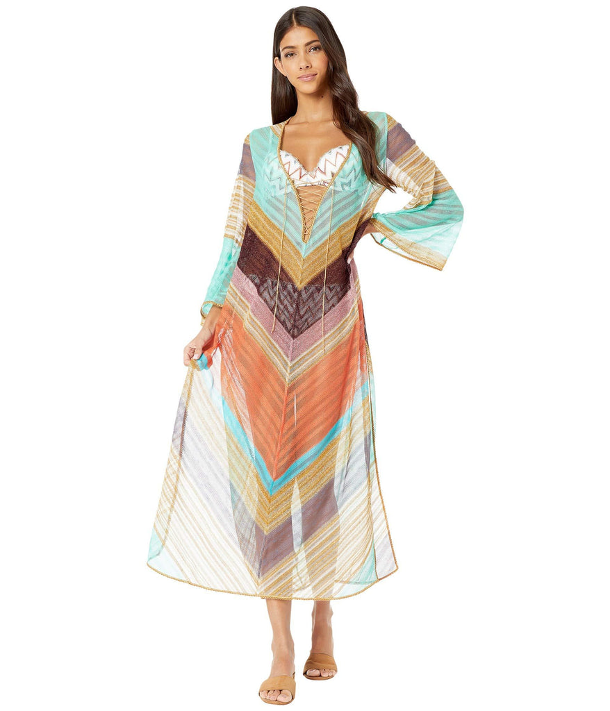 Stripe Voile Long Cover-Up Dress