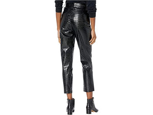 Blank NYC Leather Pressed Alligator High-Rise Five-Pocket Pants