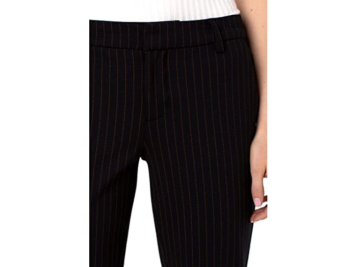 Liverpool Kelsey Novelty Knit Trousers in Rust/Black Dash Stripe