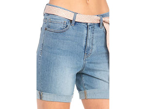 Miss Me High-Rise Mid Shorts in Light Blue