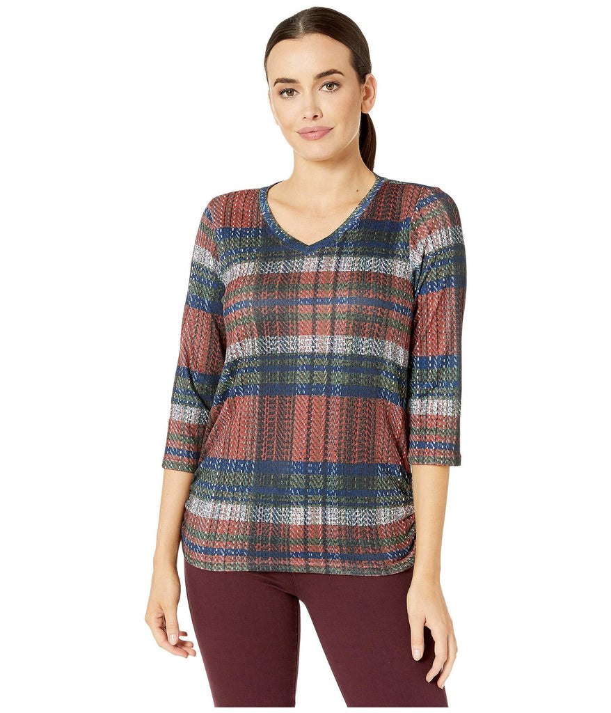 Plaid Print V-Neck 3/4 Sleeve Top