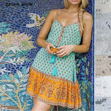 Boho Floral Print Tassel Lacing Up Casual Mini Dress