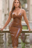 Spaghetti Strap PU Leather Bodycon Midi Dress