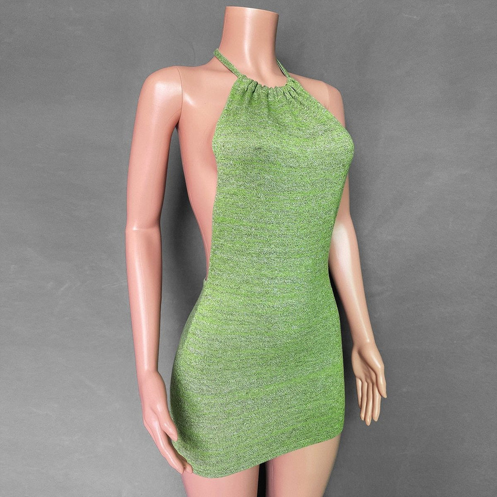 Backless Halter Neck Sleeveless Party Knit Bodycon Mini Dress