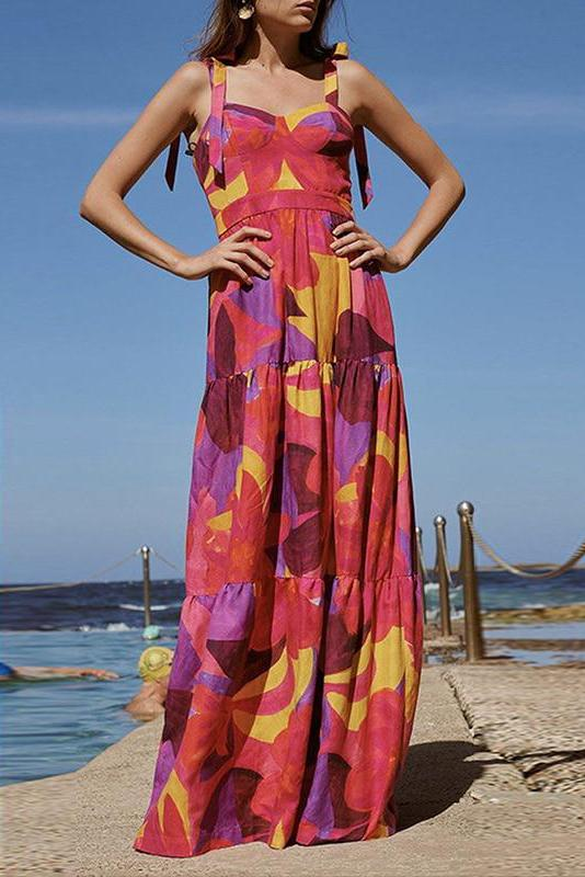 Colorblock High Waist Casual Holiday Beach Slip Maxi Dress