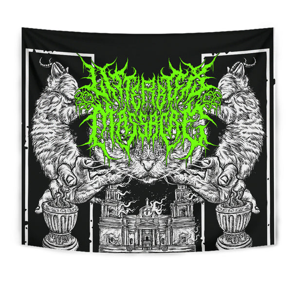 Officially Licensed Litterbox Massacre Tapestry (Lime Green)