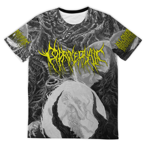 Officially Licensed Coprocephalic The Oath Of Relinquishment All Over Tee (Grayscale)