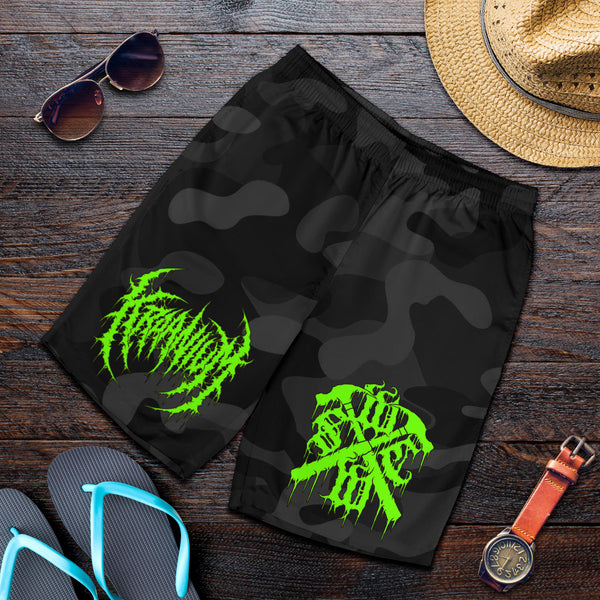 "Officially Licensed Kraanium ""Black Camo"" Shorts (Green Variant)"