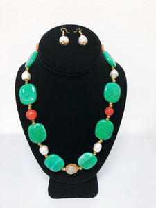 Emerald Stone Necklace Set.