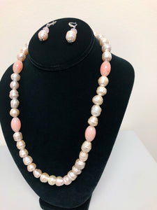 Pearl and Pink Necklace Set