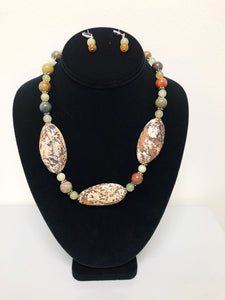 Earthy Tone Stone Necklace Set