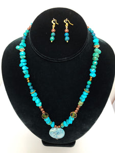 Turquoise Stone Pendant Necklace Set