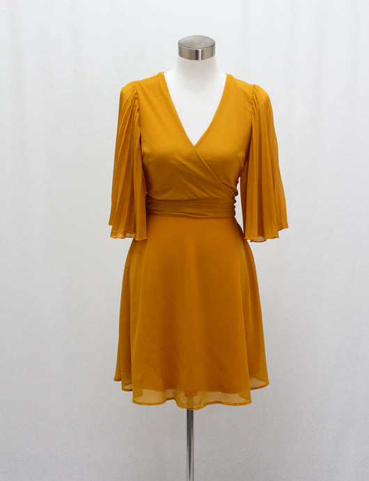 Pleated Bell Sleeve Dress (Dark Mustard)