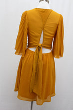 Load image into Gallery viewer, Pleated Bell Sleeve Dress (Dark Mustard)
