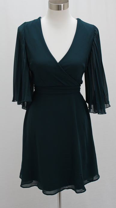 Pleated Bell Sleeve Dress (Dark Green)