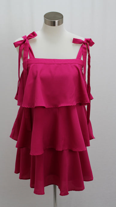 Tiered Ruffle Mini Dress (Fuchsia)