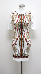Baroque Chain Pencil Dress (White)